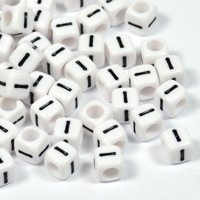 Vita bokstavspärlor kub 6mm *I*