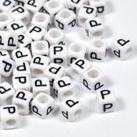 Vita bokstavspärlor kub 6mm *P*