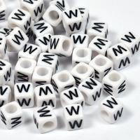 Vita bokstavspärlor kub 6mm *W*
