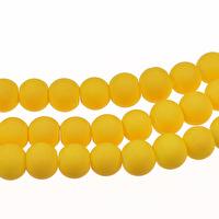 Gummiklädda glaspärlor, gul, 6mm