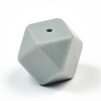 Kantig silikonpärla, 18mm, ljusgrå