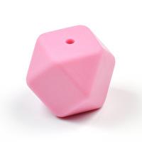 Kantig silikonpärla, 18mm, rosa
