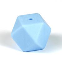 Kantig silikonpärla, 18mm, ljusblå