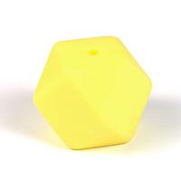 Kantig silikonpärla, 18mm, pastellgul