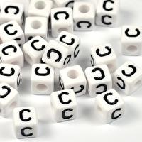 Vita bokstavspärlor kub, 8mm *C*