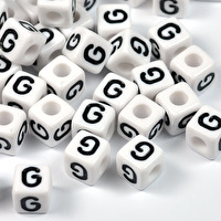 Vita bokstavspärlor kub, 8mm *G*