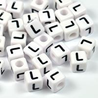 Vita bokstavspärlor kub, 8mm *L*