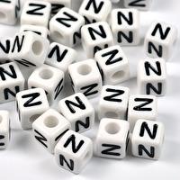 Vita bokstavspärlor kub, 8mm *N*