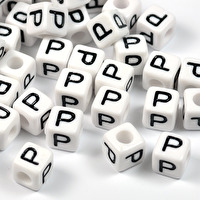 Vita bokstavspärlor kub, 8mm *P*