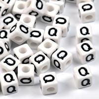 Vita bokstavspärlor kub, 8mm *Q*