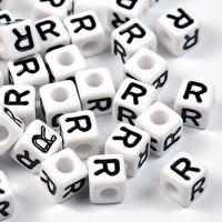 Vita bokstavspärlor kub, 8mm *R*