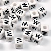 Vita bokstavspärlor kub, 8mm *W*