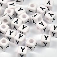 Vita bokstavspärlor kub, 8mm *Y*