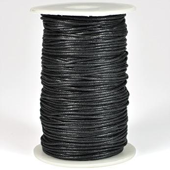 Vaxat bomullssnöre, svart, 1,5mm