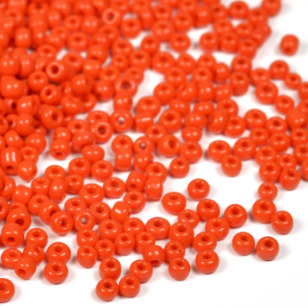 12/0 Seed Beads, opaque poppy red, 2mm