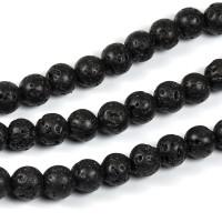 Lava pärlor, svart, 6mm