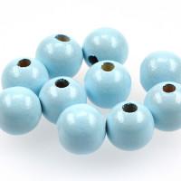 Träpärlor ljusblå, 15mm