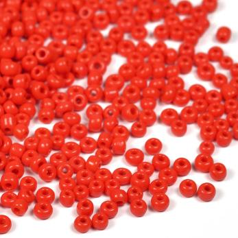 12/0 Seed Beads, opaque röd, 2mm