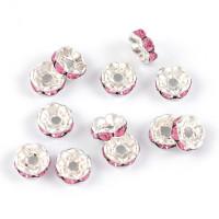 Eleganta rondeller med strass, silver-rosa, 6mm