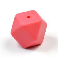 Kantig silikonpärla, 18mm, vattenmelon