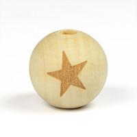 Naturliga träpärlor med stjärna, 19mm