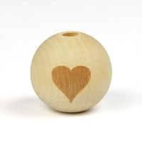 Naturliga träpärlor med hjärta, 19mm