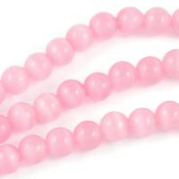 Cat eye pärlor, rosa, 6mm