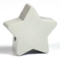 Motivpärla stor stjärna, ljusgrå
