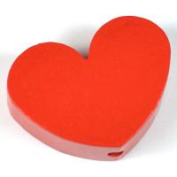 Motivpärla stort hjärta, röd