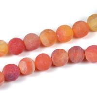 Frostade och kristalliserade agat pärlor, aprikos, 8mm