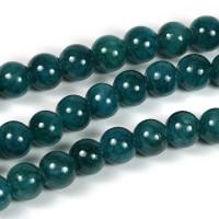Jade pärlor, petrol, 6mm