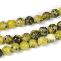 Pärlor i syntetisk turkos, senapsgul-svart, 6mm