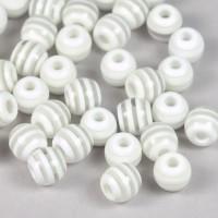 Randiga resinpärlor, vit-transparent, 8mm – utförsäljning