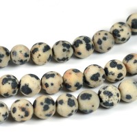 Dalmatinerjaspis pärlor, lätt frostade, 6mm