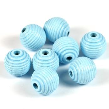 Räfflade träpärlor ljusblå, 14mm