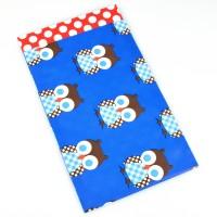 Presentpåse av papper, retro-ugglor blå