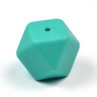 Kantig silikonpärla, 18mm, petrol