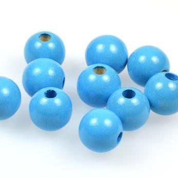 Träpärlor himmelsblå, 15mm