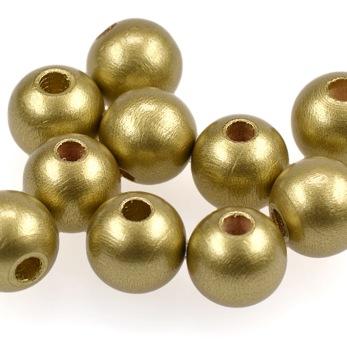 Träpärlor guld, 15mm