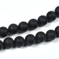 Lätt frostade agat pärlor, mattsvart, 8mm