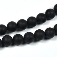 Syntetiska black stone pärlor, mattsvart, 8mm
