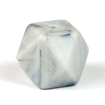 Kantig silikonpärla, 18mm, marmor