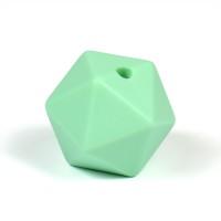 Kantig silikonpärla, 16mm, mint