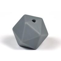 Kantig silikonpärla, 16mm, grå
