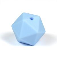Kantig silikonpärla, 16mm, ljusblå