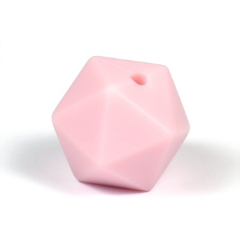 Kantig silikonpärla, 16mm, puderrosa