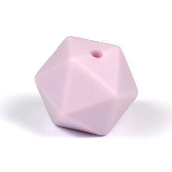 Kantig silikonpärla, 16mm, lavendel
