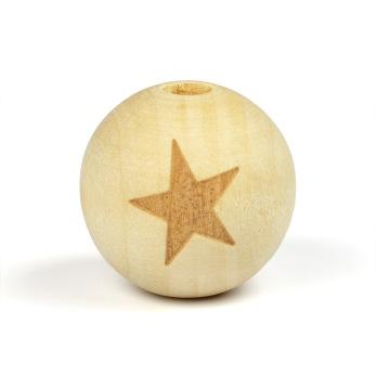 Obehandlade träpärlor med stjärna, 19mm