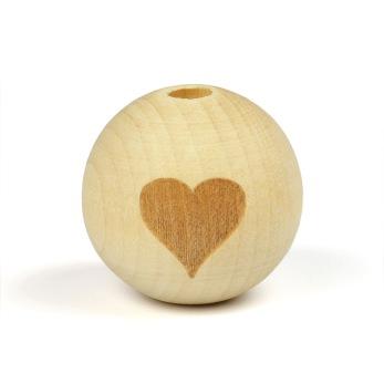 Obehandlade träpärlor med hjärta, 19mm