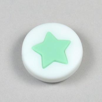 Silikonpärla med liten stjärna, mint